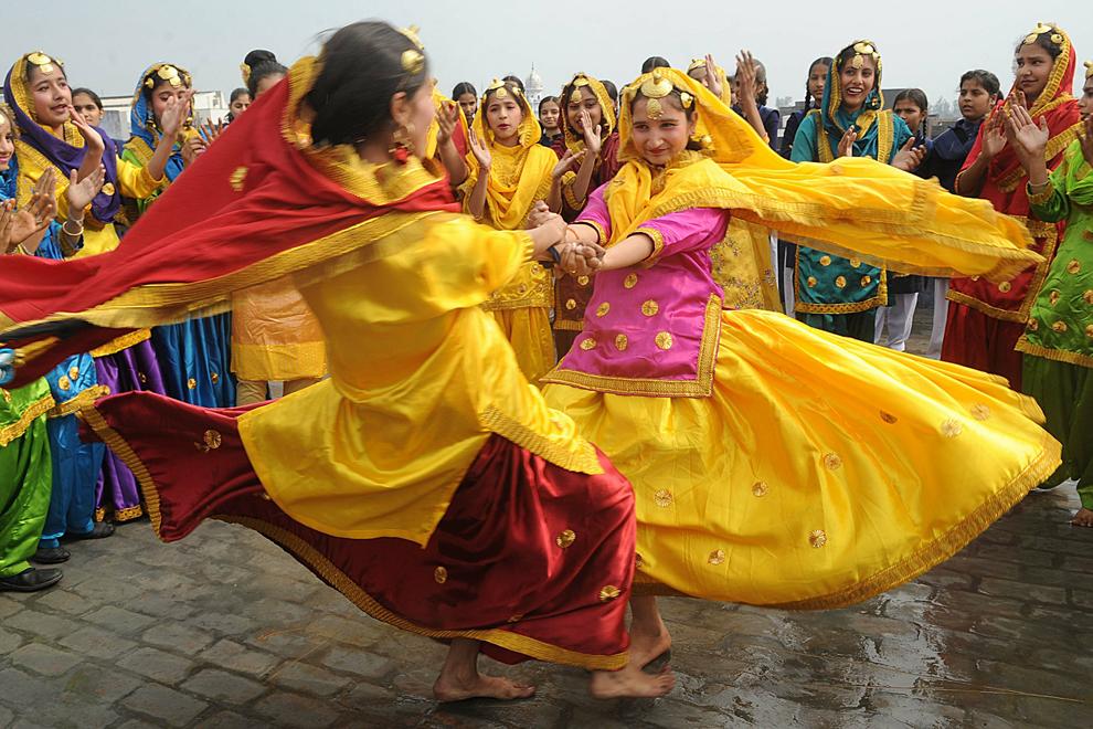 kabul girls dance. Indian school girls spin in a
